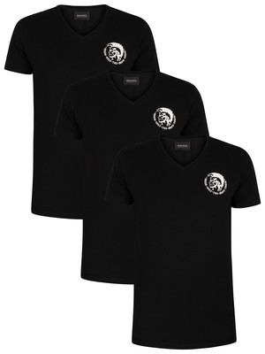 Diesel 3 Pack Michael Lounge V-Neck T-Shirts - Black