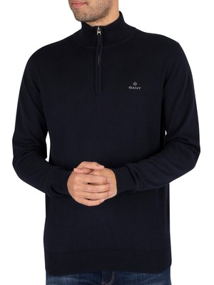 GANT Classic Cotton Half Zip Sweatshirt - Evening Blue