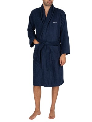 GANT Organic Terry Bathrobe - Yankee Blue