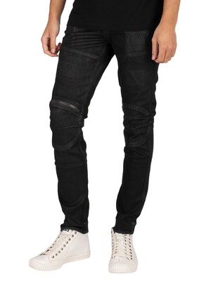 G-Star 5620 3D Zip Knee Skinny Jeans - Black Radiant Cobler Restored