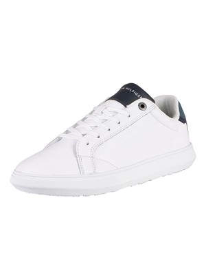 Tommy Hilfiger Essential Leather Cupsole Leather Trainers - Charcoal Blue