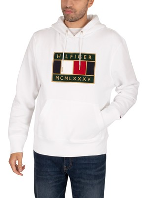 Tommy Hilfiger Icon Badge Pullover Hoodie - White