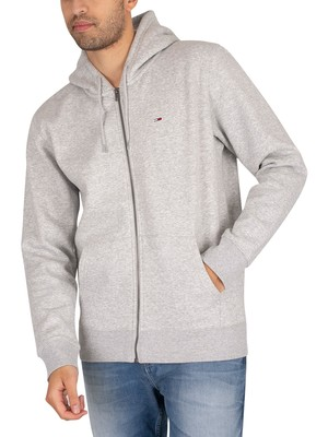 Tommy Jeans Regular Fleece Zip Hoodie - Light Grey Heather