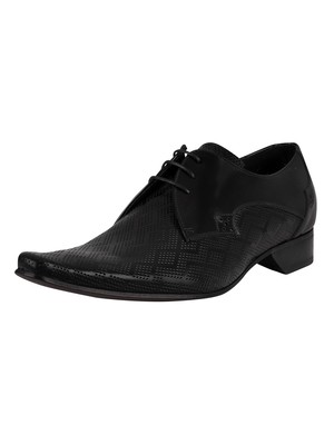 Jeffery West Brogue Derby Polished Leather Shoes - Black
