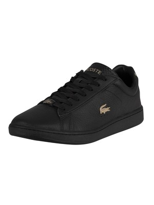 Lacoste Carnaby Evo 0721 3 SMA Leather Trainers - Black/Black