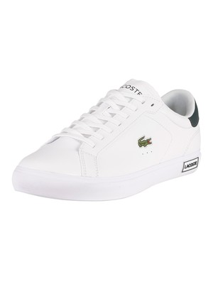 Lacoste Powercourt 0520 1 SMA Leather Trainers - White/Dark Green