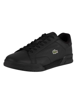 Lacoste Twin Serve 0721 2 SMA Leather Trainers - Black/Black