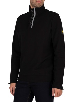 Lyle & Scott Button Funnel Neck Sweatshirt - Jet Black