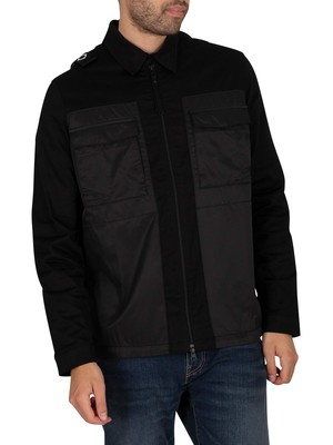MA.STRUM Zip Through Overshirt - Jet Black