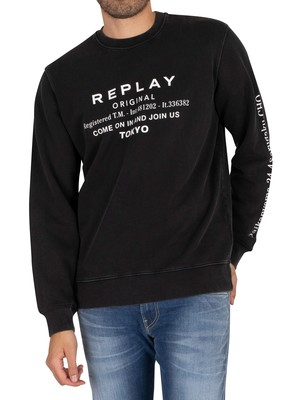 Replay Graphic Sweatshirt - Black