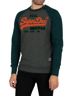Superdry Vintage Logo Duo Raglan Sweatshirt - Forest Green Marl