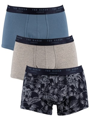 Ted Baker 3 Pack Fitted Trunks - Tea Leaf/Heather Grey/Captain Blue