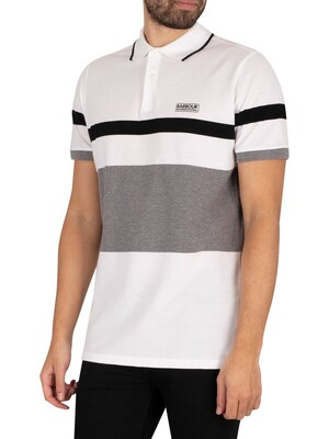 Barbour International Clax Stripe Polo Shirt - White