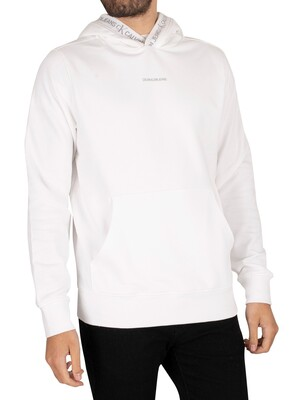 Calvin Klein Jeans Logo Jacquard Pullover Hoodie - Bright White