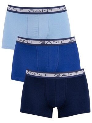 GANT 3 Pack Basic Trunks - Capri Blue