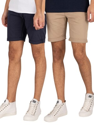 Jack & Jones 2 Pack Rick Original Chino Shorts - Crockery/Navy