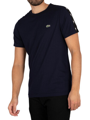 Lacoste Logo Tape Sleeve T-Shirt - Blue Marine