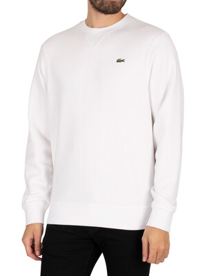 Lacoste Sport Cotton Blend Fleece Sweatshirt - White