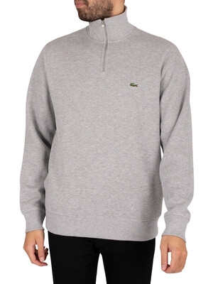 Lacoste Zip Collar Sweatshirt - Light Grey
