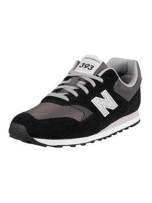 New Balance 393 Suede Trainers - Black/Castlerock