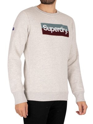 Superdry Core Logo Workwear Sweatshirt - Off White Marl