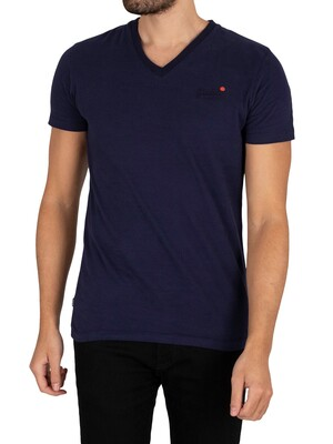 Superdry Original Logo Classic V-Neck T-Shirt - Rich Navy