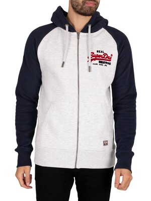 Superdry Vintage Logo Duo Raglan Zip Hoodie - Ice White