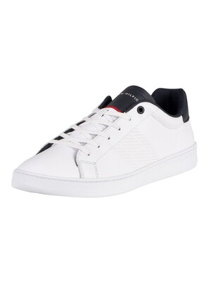 Tommy Hilfiger Retro Tennis Cupsole Leather Trainers - White/Desert Sky