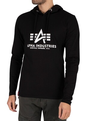 Alpha Industries Longsleeved Hooded T-Shirt - Black