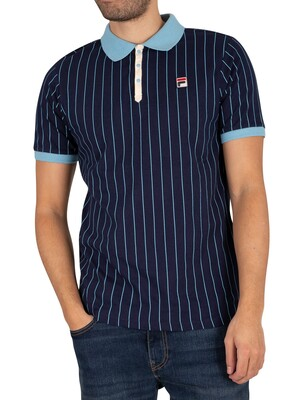 Fila BB1 Striped Polo Shirt - Peacoat/Air Blue