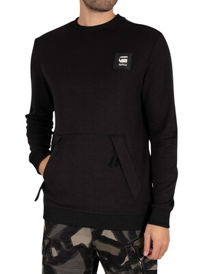 G-Star Box Logo Pocket Tweater Sweatshirt - Dark Black