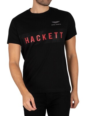 Hackett London Aston Martin Racing Branded T-Shirt - Black