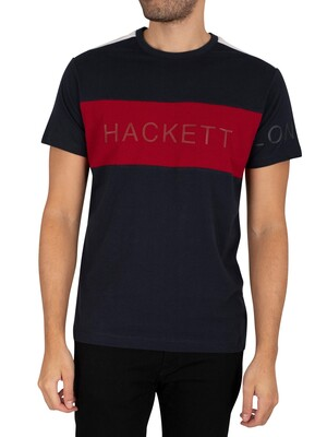 Hackett London Fine Jersey Panel T-Shirt - Navy/Red