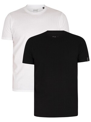 Schott 2 Pack Crew T-Shirts - White/Black