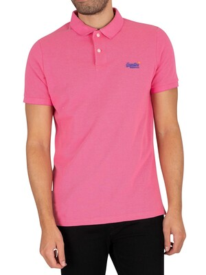 Superdry Classic Pique Polo Shirt - Shocking Pink Twist