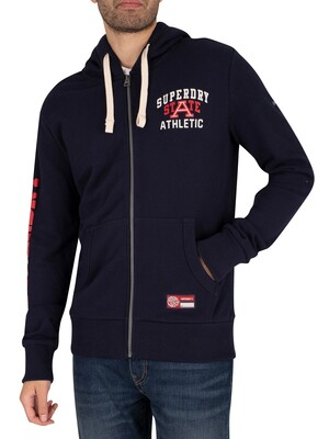 Superdry Track and Field Graphic Zip Hoodie - Nautical Navy