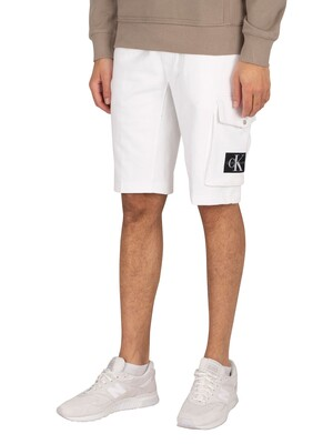 Calvin Klein Jeans Monogram Badge Sweat Shorts - Bright White