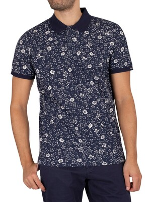 GANT Freedom Flowers Pique Polo Shirt - Classic Blue