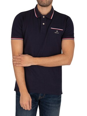 GANT Tipping Pique Rugger Polo Shirt - Evening Blue