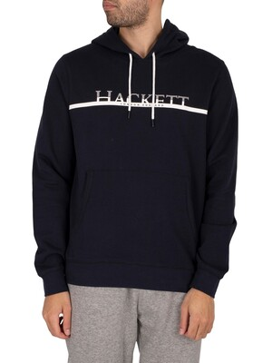 Hackett London Chest Stripe Pullover Hoodie - Navy