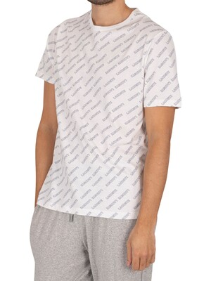 Lacoste Logo Pattern Lounge T-Shirt - White