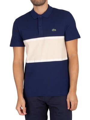 Lacoste Logo Polo Shirt - Navy/Beige