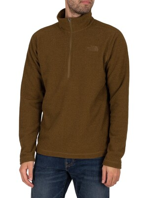 The North Face Textured Cap Rock 1/4 Zip Sweatshirt - Military Olive