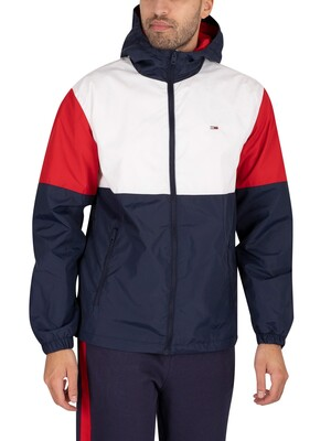 Tommy Jeans Nylon Colourblock Windbreaker Jacket - White