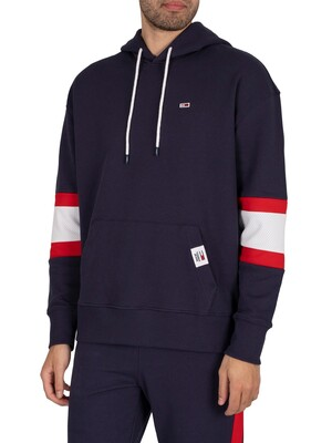 Tommy Jeans Rugby Stripe Contrast Lining Pullover Hoodie - Twilight Navy