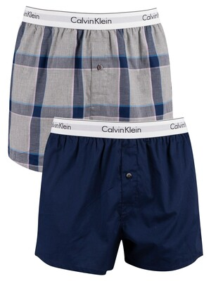 Calvin Klein 2 Pack Modern Cotton Stretch Slim Woven Boxers - New Navy/Titon Plaid