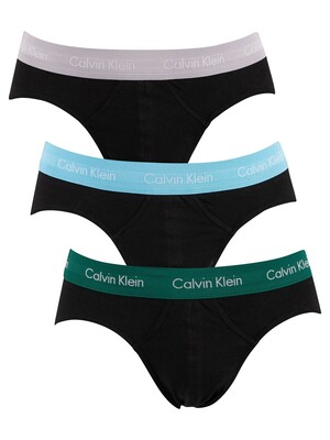 Calvin Klein 3 Pack Hip Briefs - Jade Sea/Sky High/Sleek Silver