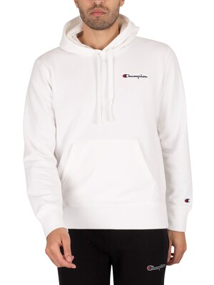 Champion Comfort Chest Logo Pullover Hoodie - White