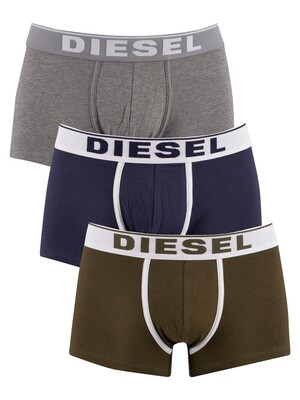 Diesel 3 Pack Damien Trunks - Dark Green/Navy/Grey