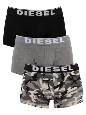 Diesel 3 Pack Damien Trunks - Camo/Grey/Black